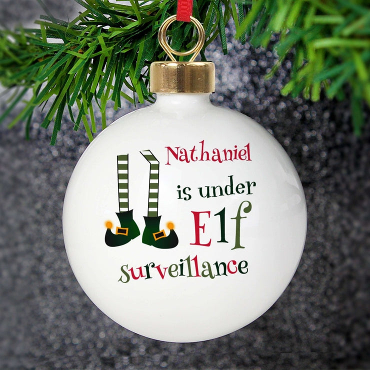 Personalised Elf Surveillance Bauble-Bauble-Give Personalised Gifts