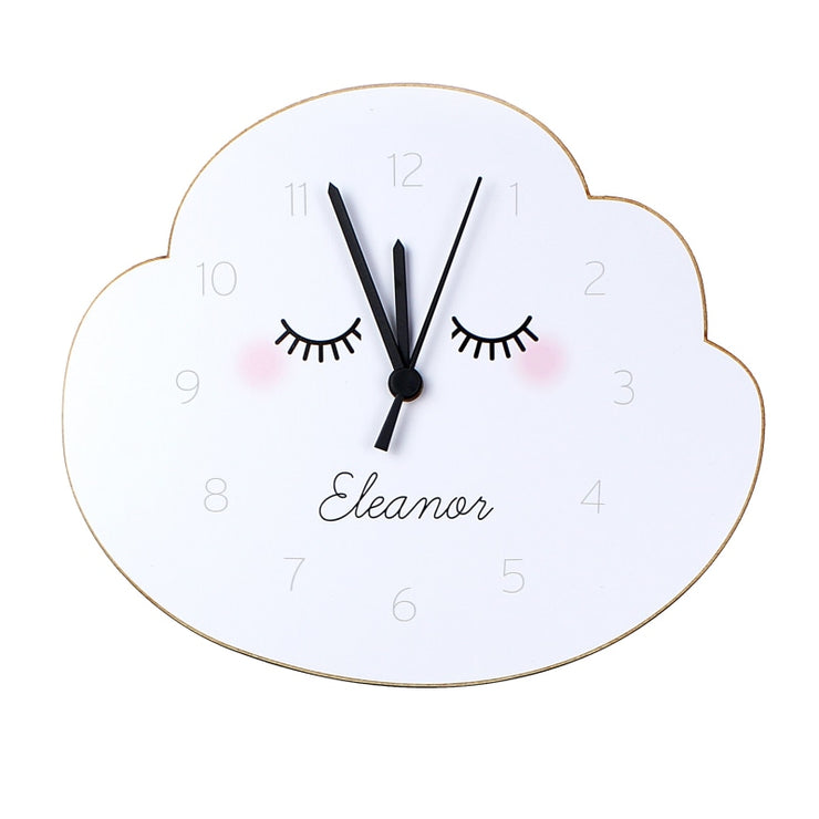 Personalised Eyelash Cloud Shape Wooden Clock-Clock-Give Personalised Gifts