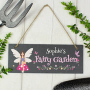 "Personalised ""Fairy Garden"" Printed Hanging Slate Plaque-Hanging Decoration-Give Personalised Gifts"
