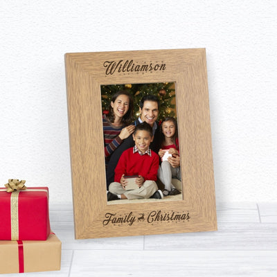 Personalised Family Christmas Wood 6x4 Photo Frame-Photo Frame-Give Personalised Gifts