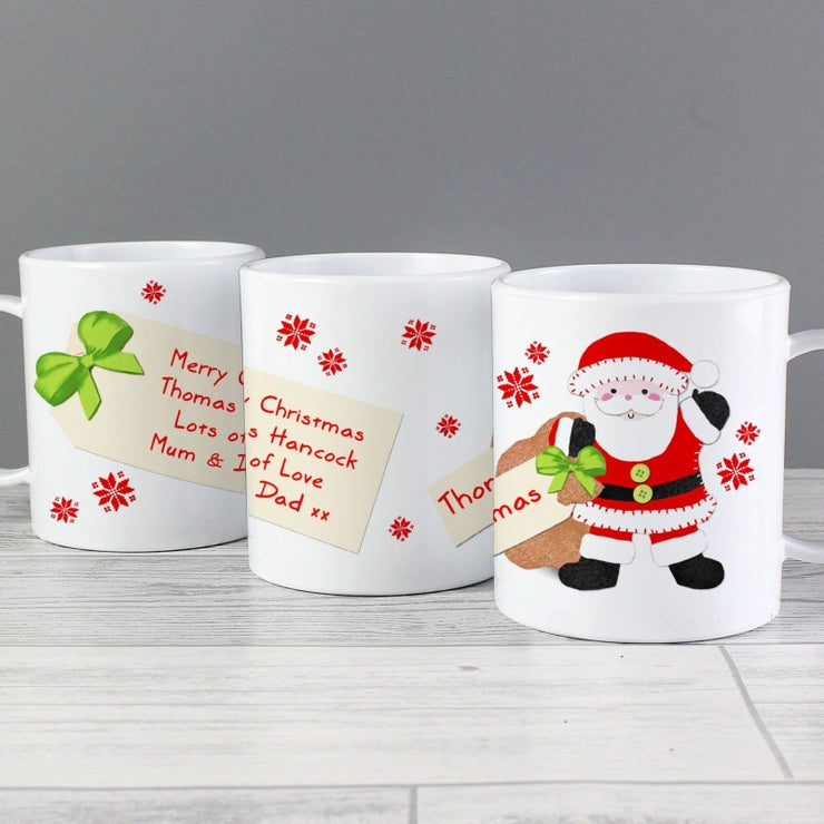 Personalised Felt Stitch Santa Plastic Mug-Plastic Mug-Give Personalised Gifts