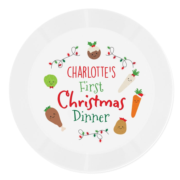 Personalised 'First Christmas Dinner' Plastic Plate-Kids Cutlery-Give Personalised Gifts