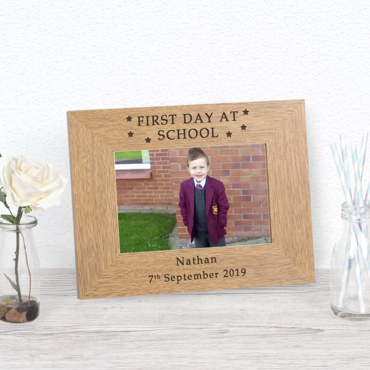 Personalised First Day at School Wood Photo Frame-Photo Frame-Give Personalised Gifts