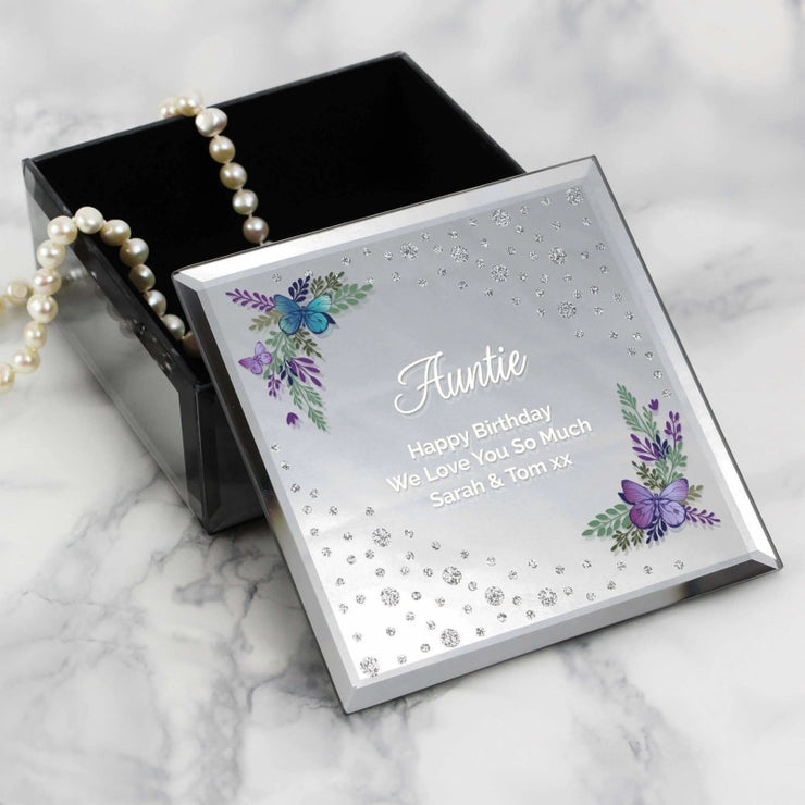 Personalised Floral Butterfly Diamante Glass Trinket Box-Trinket Box-Give Personalised Gifts