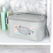 Personalised Floral Grey Make Up Wash Bag-Wash Bag-Give Personalised Gifts