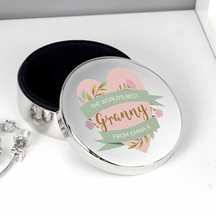 Personalised Floral Round Trinket Box-Jewellery-Give Personalised Gifts