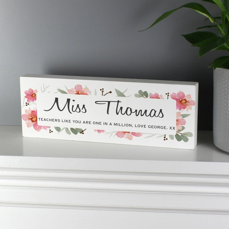 Personalised Floral Sentimental Wooden Block Sign-Wooden Sign-Give Personalised Gifts