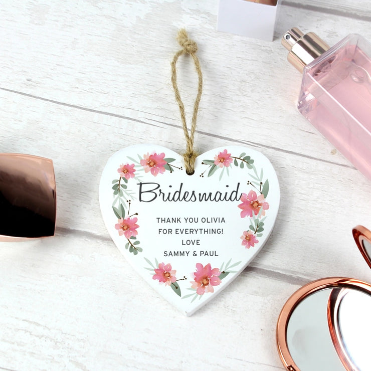Personalised Floral Sentimental Wooden Heart Decoration-Wooden Sign-Give Personalised Gifts
