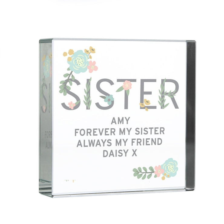 Personalised Floral Sister Large Crystal Token-Crystal Token-Give Personalised Gifts