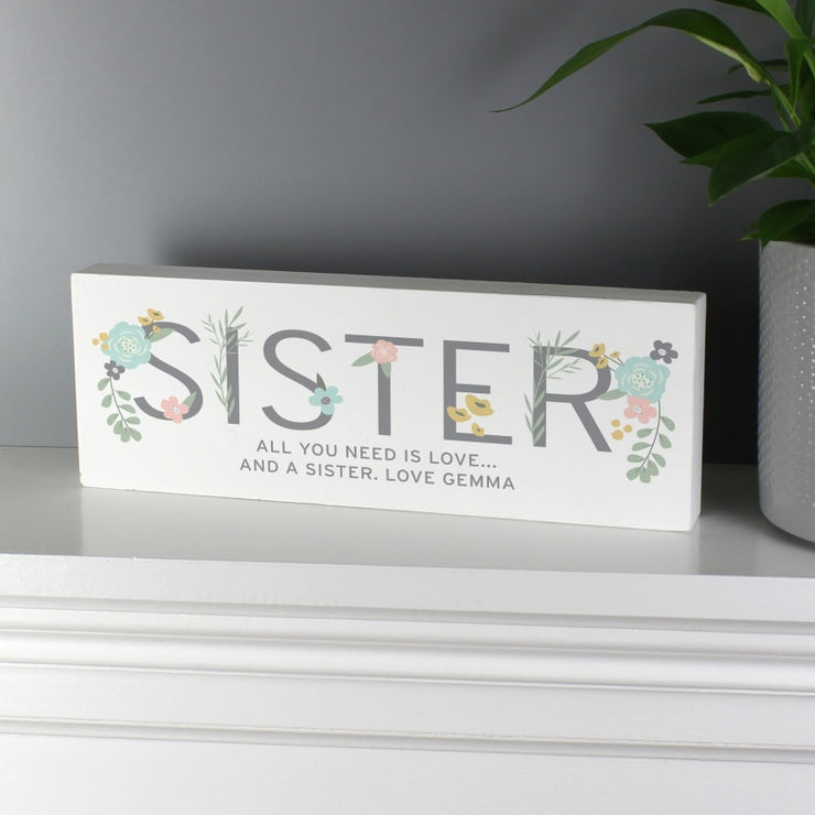 Personalised Floral Sister Wooden Block Sign-Wooden Sign-Give Personalised Gifts