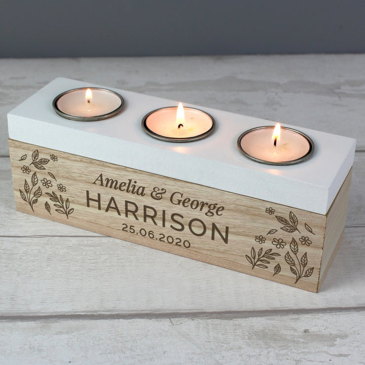 Personalised Floral Triple Tea Light Box-Candles & Holder-Give Personalised Gifts