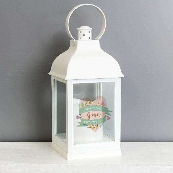 Personalised Floral White Lantern-Lantern-Give Personalised Gifts
