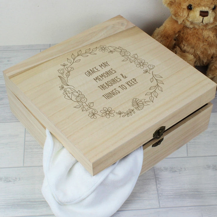 Personalised Floral Wreath Large Wooden Keepsake Box-Keepsake Box-Give Personalised Gifts