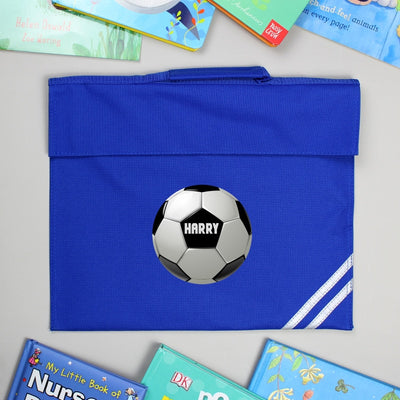 Personalised Football Blue Book Bag
