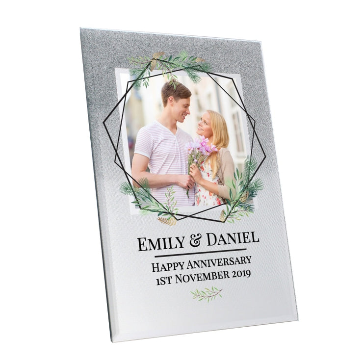 Personalised Geo Leaves 4x4 Glitter Glass Photo Frame-Photo Frame-Give Personalised Gifts