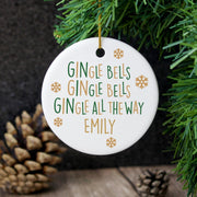 Personalised Gin-gle Bells Round Ceramic Decoration-Hanging Decoration-Give Personalised Gifts