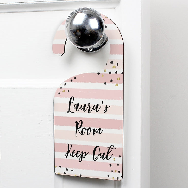 Personalised Gold and Pink Stripe Door Hanger-Door Hanger-Give Personalised Gifts