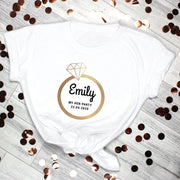 Personalised Gold Bling Ring Hen Party White T-Shirt-T-Shirt-Give Personalised Gifts