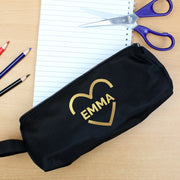 Personalised Gold Heart Black Pencil Case-Pen & Pencil Set-Give Personalised Gifts