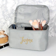 Personalised Gold Name Grey Make Up Wash Bag-Wash Bag-Give Personalised Gifts