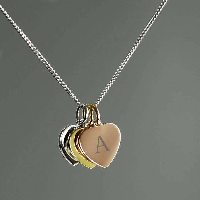 Personalised Gold, Rose Gold and Silver 3 Hearts Necklace-Jewellery-Give Personalised Gifts