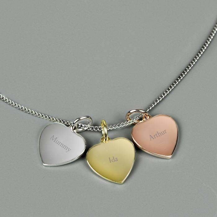 Personalised Gold, Rose Gold and Silver 3 Hearts Necklace-Necklaces-Give Personalised Gifts