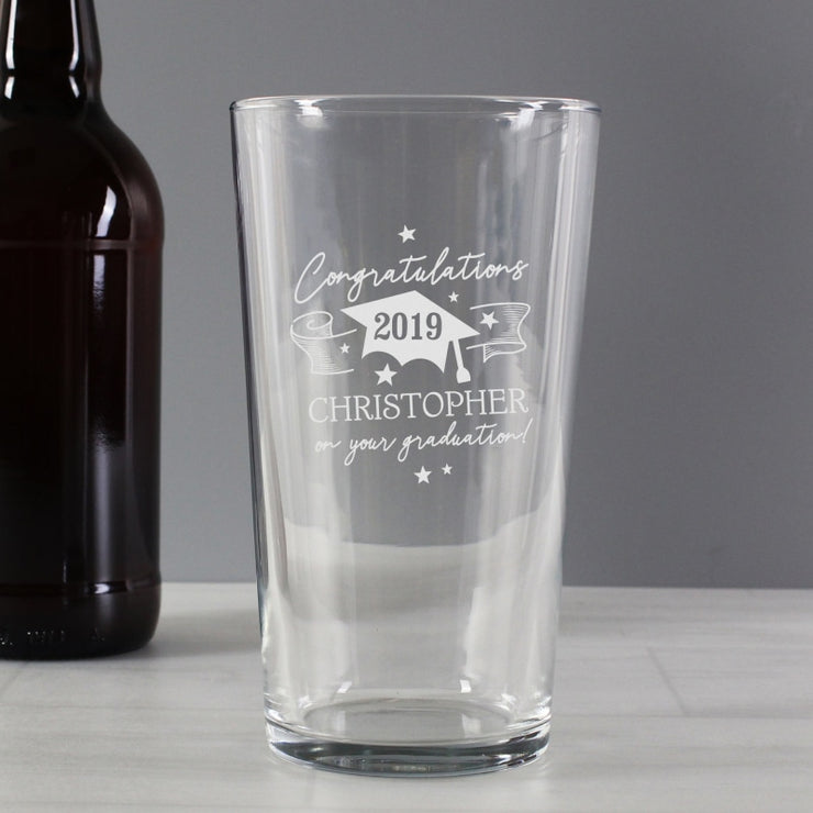 Personalised Graduation Pint Glass-Glassware-Give Personalised Gifts