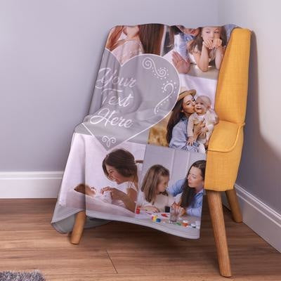Personalised Grey - 8 Photo Fleece Throw Blanket-Blanket-Give Personalised Gifts