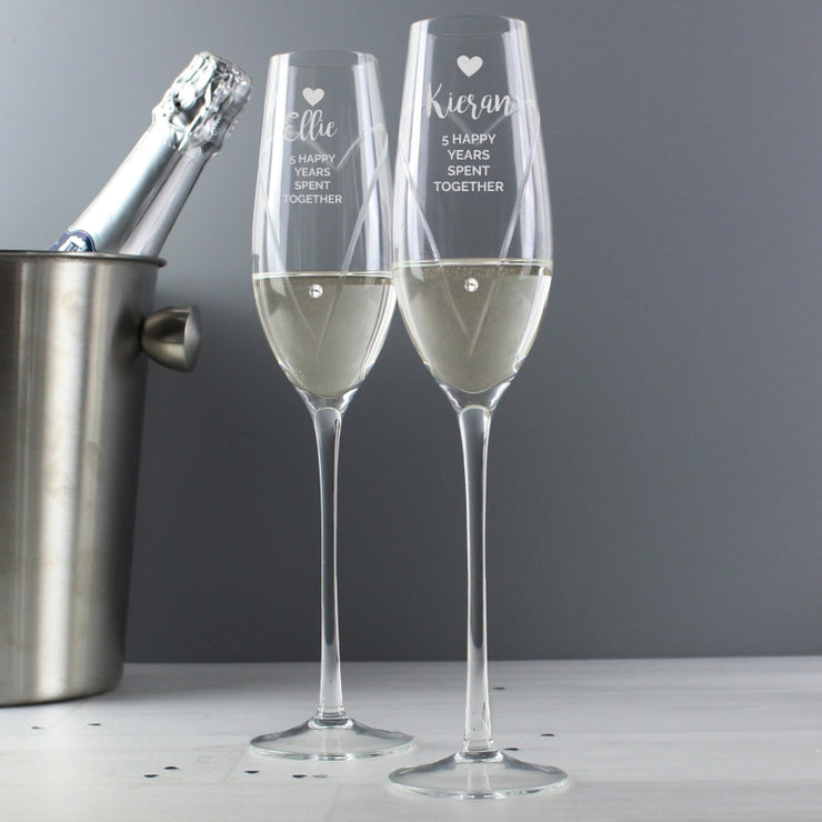 Personalised Hand Cut Heart Celebration Pair of Flutes with Swarovski Elements in Gift Box-Glassware-Give Personalised Gifts