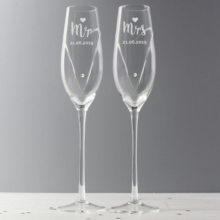 Personalised Hand Cut Mr & Mrs Pair of Flutes with Swarovski Elements in Gift Box-Glassware-Give Personalised Gifts