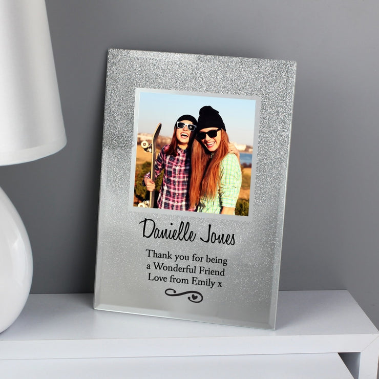 Personalised Heart & Swirl 4x4 Glitter Glass Photo Frame-Photo Frame-Give Personalised Gifts