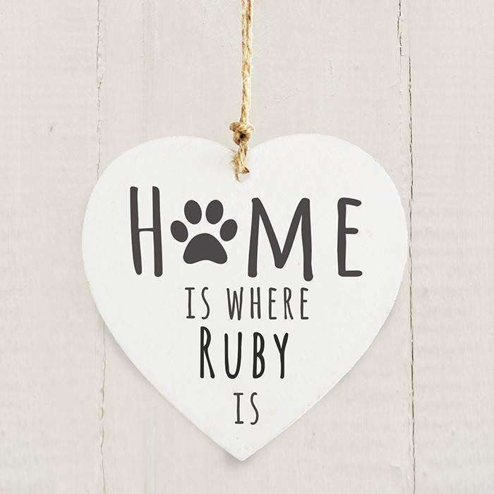 Personalised 'Home is Where' Pet Wooden Heart Decoration-Pet Accessories-Give Personalised Gifts