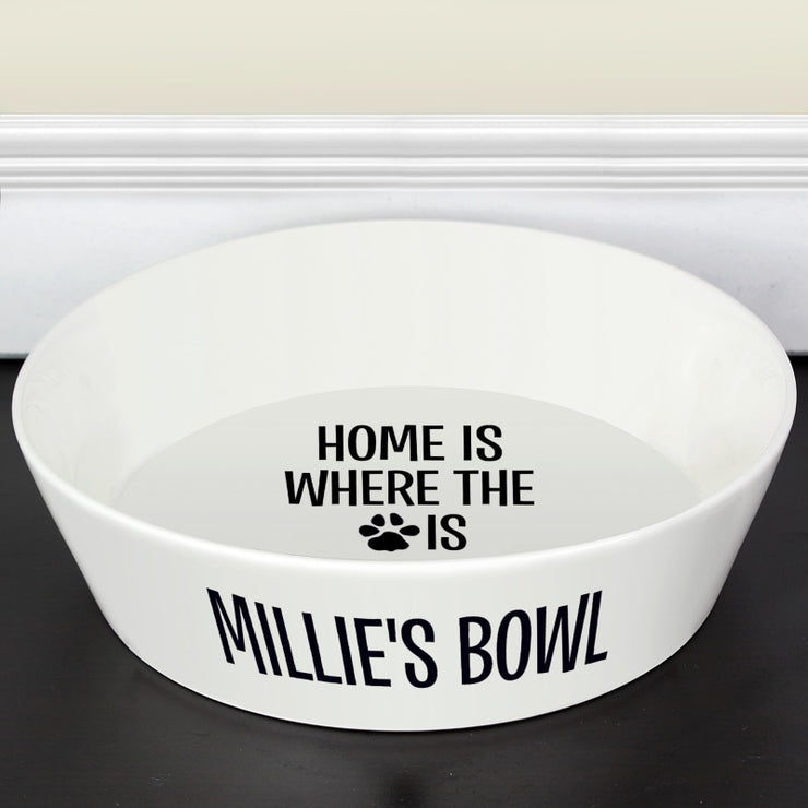 Personalised Home Is Where The Paw Is - Large Bone China Pet Bowl-Pet Bowl-Give Personalised Gifts