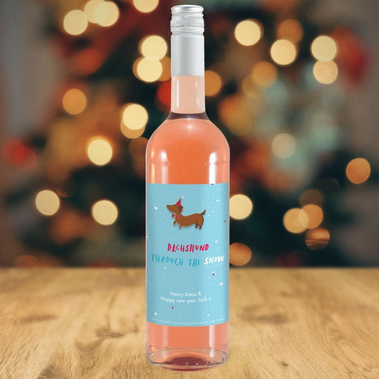 Personalised HotchPotch Dachshund Through The Snow Rose Wine-Wine-Give Personalised Gifts