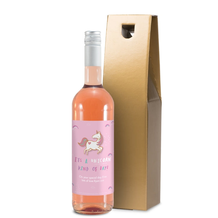 Personalised HotchPotch Unicorn Kind Of Day Rosé Wine-Wine-Give Personalised Gifts