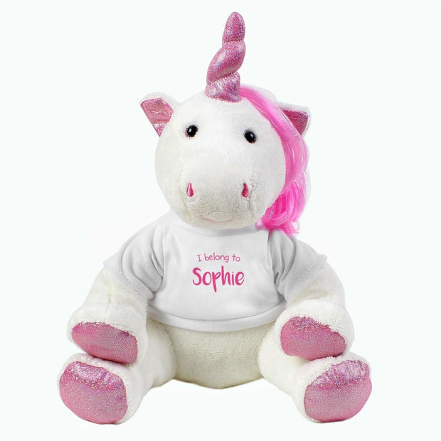 Personalised 'I Belong To' Plush Unicorn-Teddies-Give Personalised Gifts