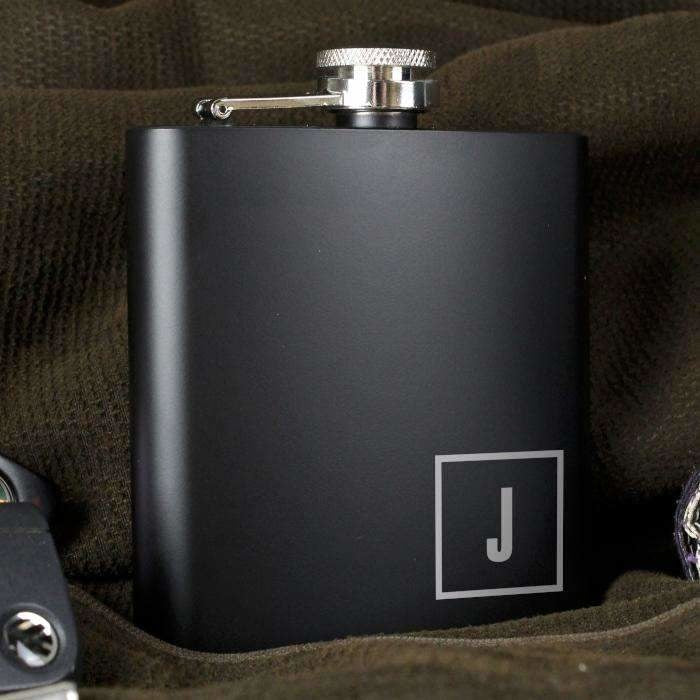 Personalised Initials Black Hip Flask-Hip Flask-Give Personalised Gifts