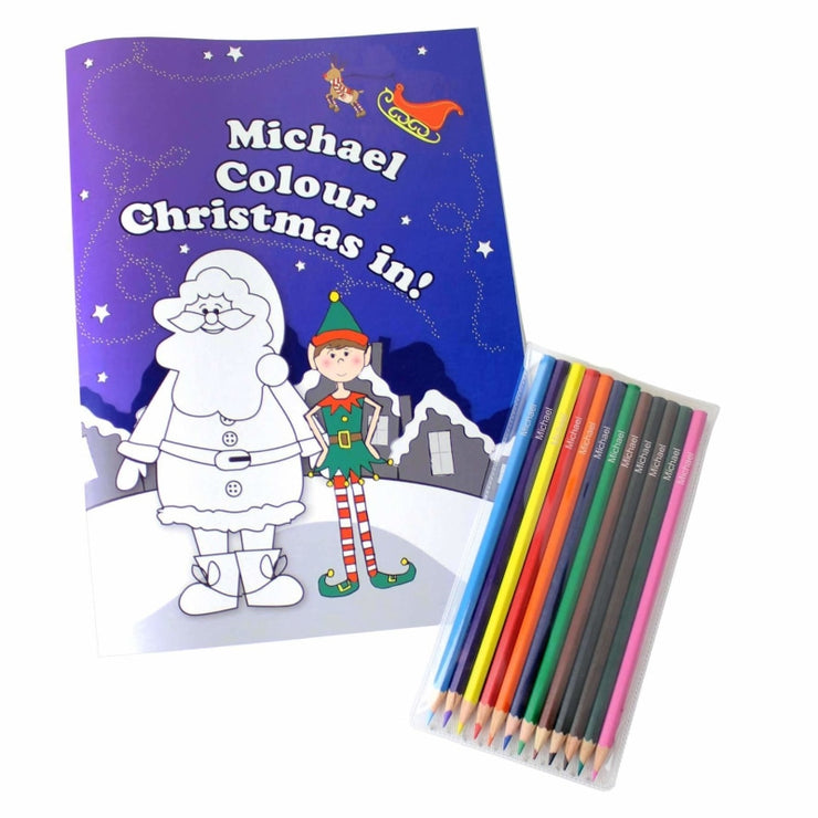 Personalised 'It's Christmas' Elf Colouring Book with Pencil Crayons-Colouring Book-Give Personalised Gifts