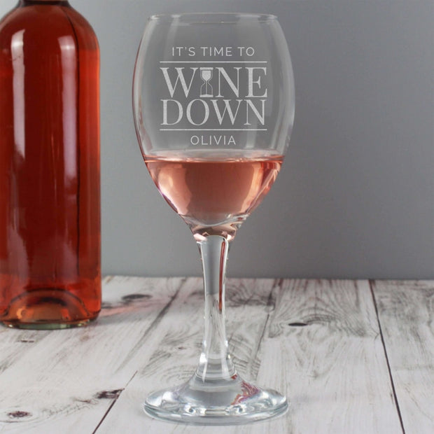 Personalised 'It's Time to Wine Down' Wine Glass-Glassware-Give Personalised Gifts