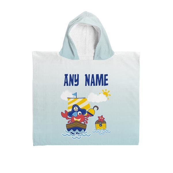 Personalised Kids Poncho Hooded Towel - Pirate Crab-Hooded Towel-Give Personalised Gifts
