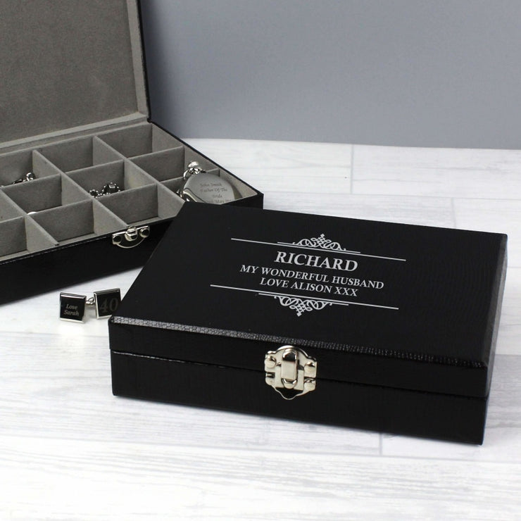 Personalised Large Cufflink Compartment Box-Cufflinks-Give Personalised Gifts
