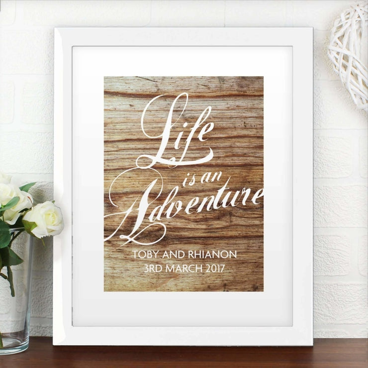 Personalised 'Life is an Adventure' White Framed Poster Print-Personalised Poster-Give Personalised Gifts