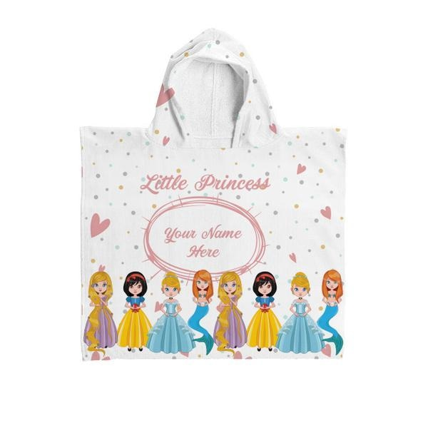 Personalised Little Princess Kids Poncho Hooded Towel-Hooded Towel-Give Personalised Gifts