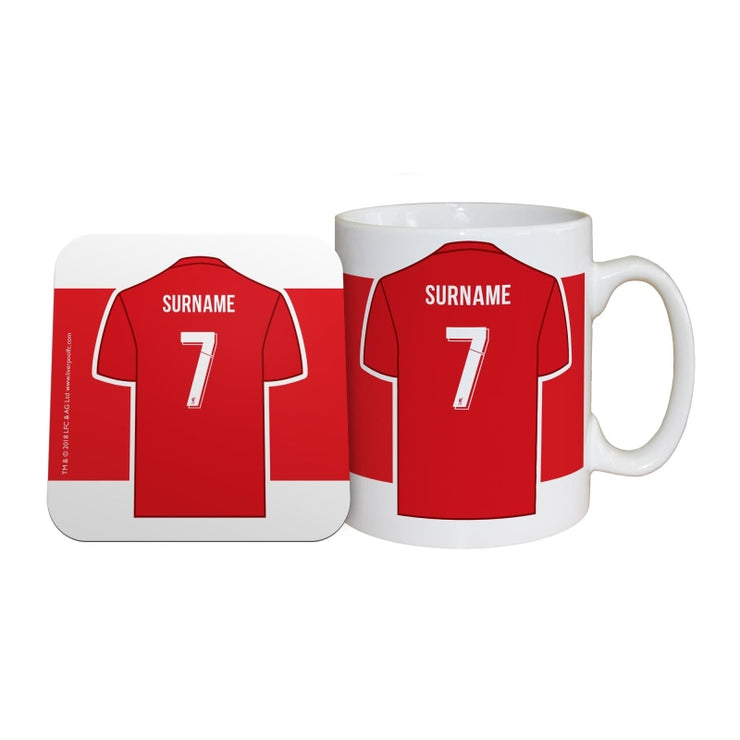 Personalised Liverpool FC Shirt Mug & Coaster Set