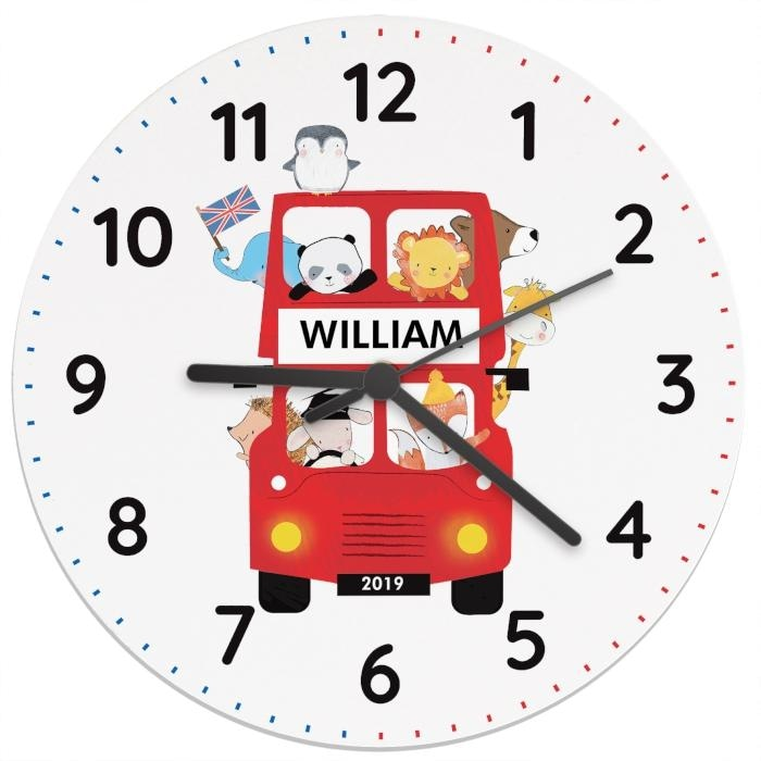 Personalised London Animal Bus Wooden Clock-Clock-Give Personalised Gifts