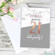 Personalised Marble and Rose Gold Birthday Card-Personalised Cards-Give Personalised Gifts