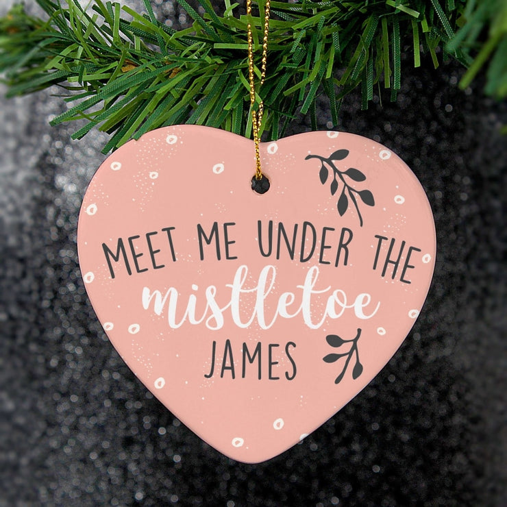 Personalised 'Meet Me Under The Mistletoe' Ceramic Heart Decoration-Hanging Decoration-Give Personalised Gifts