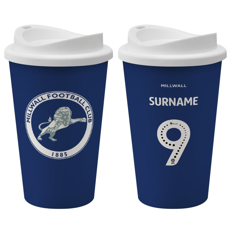Personalised Millwall FC Back of Shirt Reusable Cup Travel Mug-Travel Mug-Give Personalised Gifts