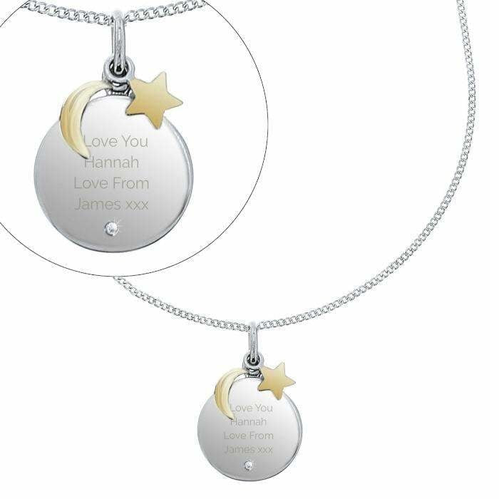 Personalised Moon & Stars Sterling Silver Necklace-Necklaces-Give Personalised Gifts