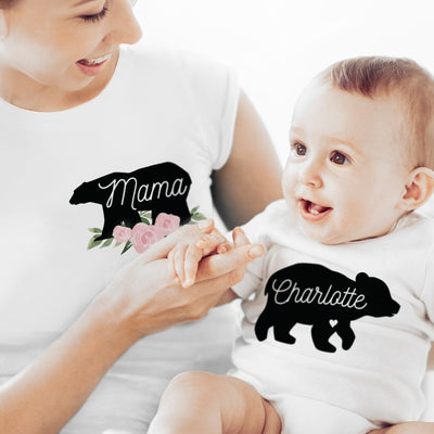 Personalised Mother & Baby Mama Bear T-Shirt And Vest Set (Large & 0-3mths)-Baby Clothing-Give Personalised Gifts